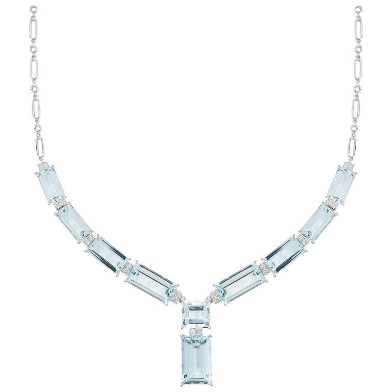 45.89 Carat Aquamarine Diamond Necklace 18 Carat White Gold Art Deco Style