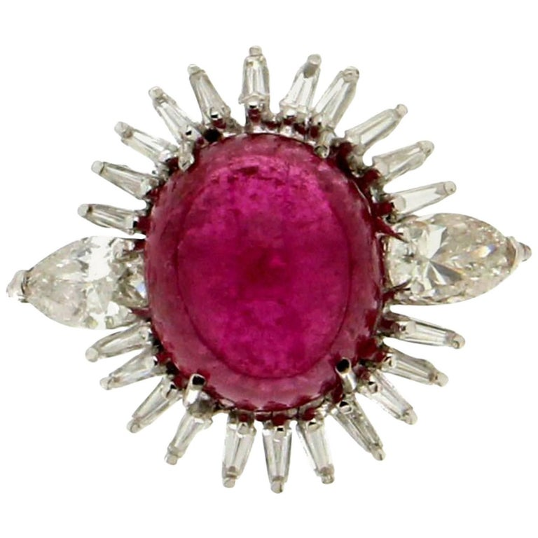 Cabochon Rubelite Gold 18 karat Diamonds Cocktail Ring For Sale