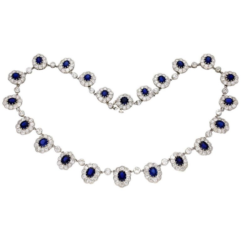 Circa 1920 Natural Unenhanced Burmese Sapphire Diamond Platinum Necklace Tiara