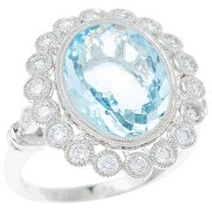 Aquamarine 4.77 Carat Diamond 18 Carat White Gold Dress Ring