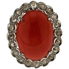 "Natural Coral ""Momo"" Gold Rose Cut Diamonds Ring"