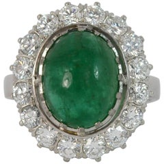 Emerald Cabochon and Diamond 18 Carat White Gold Cluster Ring