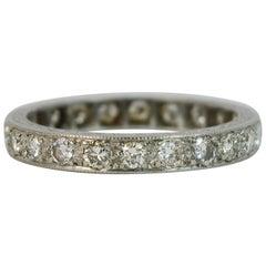 Art Deco Platinum and 1.20 Carat Diamond Full Eternity Stack Ring