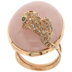 Pink Quartz Gold Diamonds Cocktail Ring