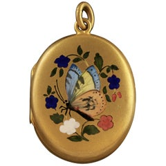 Antique Victorian Butterfly Locket Gold Gilt, circa 1870