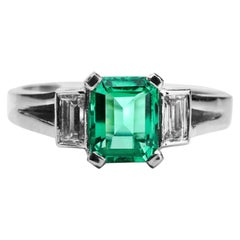 Colombian Emerald and Diamond Engagement Ring