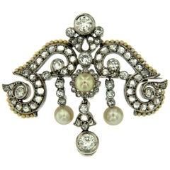 Art Deco Diamond Natural Pearl Platinum Brooch