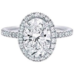Harry Winston Inspired Diamond Halo Engagement Ring