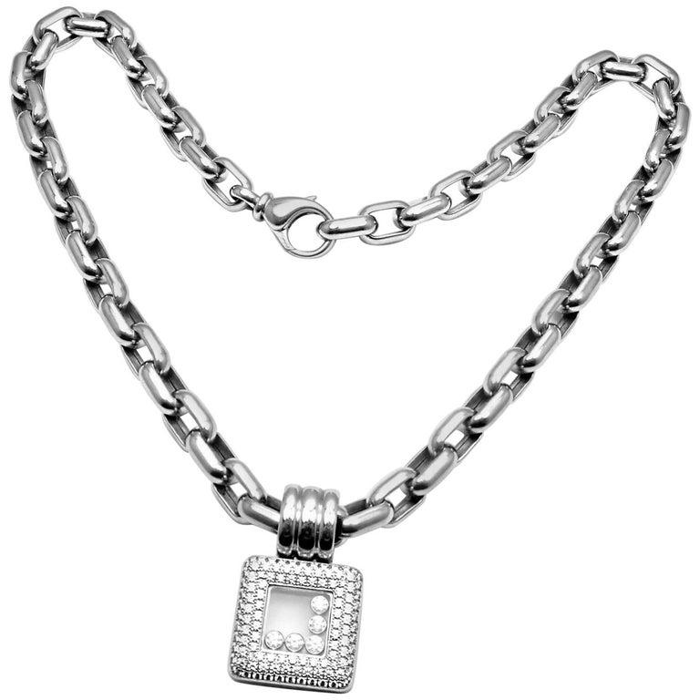 ec3ac3663481b Chopard Happy Diamond Square White Gold Pendant Necklace