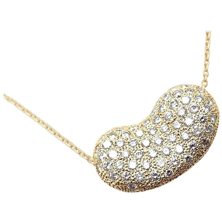 7a4564b40 Tiffany & Co. Elsa Peretti Diamond Large Bean Yellow Gold Pendant Necklace  For Sale
