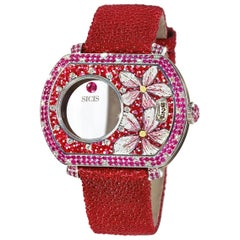Automatic Wristwatch White Gold White Diamonds Ruby Hand Decorated Micromosaic