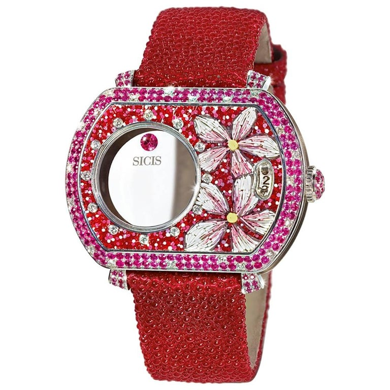 White Gold White Diamonds Ruby Micromosaic Automatic Wristwatch For Sale