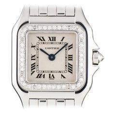 Cartier Panthere Ladies White Gold Silver Roman Dial Diamond Set Quartz Watch