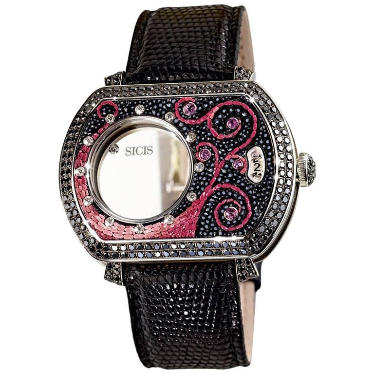 White Gold White and Black Diamond Sapphire Micromosaic Automatic Wristwatch For Sale
