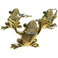 E. Wolfe Musical Frog Band Trio Platinum Gold Diamond Emerald Ruby Pin Set