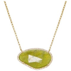 Green Sapphire Slice and Diamond Necklace