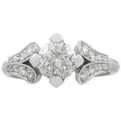 1940s 1.29 Carat Diamond and Platinum Solitaire Ring