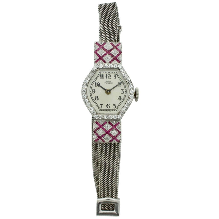 Extreme Art Deco Ruby and Diamond, circa 1920s Lady's Watch Girard Perregaux