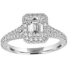 GIA Certified 0.70 Ct Emerald Cut Diamond Halo Platinum and Gold Engagement Ring