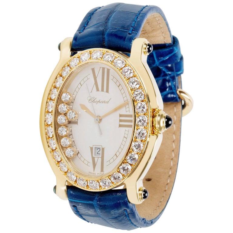 Chopard Happy Sport 27/7000-23/11 Quartz 18kt  Gold Woman's Diamond Watch