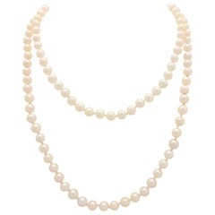 14 Karat White Gold Beaded Cultured Pearl Necklace