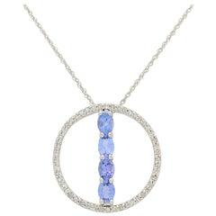 10 Karat White Gold .85 Carat Tanzanite and Diamond Pendant Necklace 2 Grams
