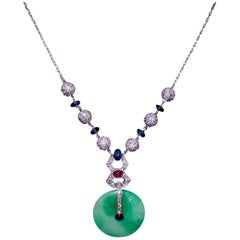 Jadeite, Diamond, Ruby and Sapphire Necklace