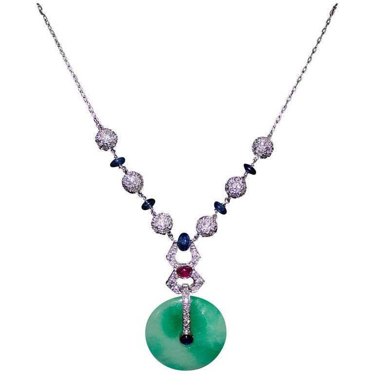 Jadeite, Diamond, Ruby and Sapphire Necklace