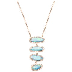 Four Opal Slice Necklace
