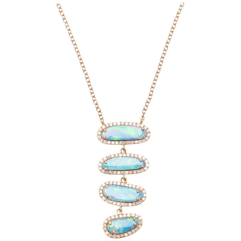 Four Opal Slice Necklace For Sale