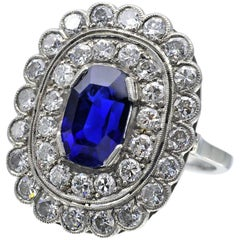 Certified Natural Burmese Sapphire Art Deco Ring