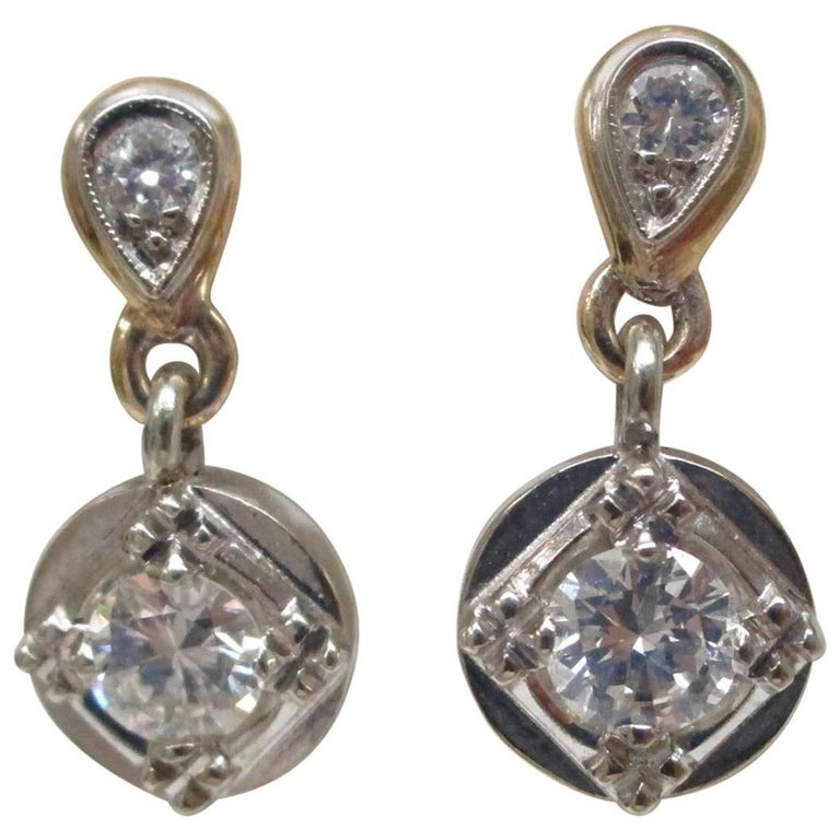 1950s Retro Diamond Dangle Earrings Two-Tone Gold