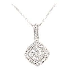 10 Karat White Gold Diamond Cluster Pendant/Necklace .50 Carat