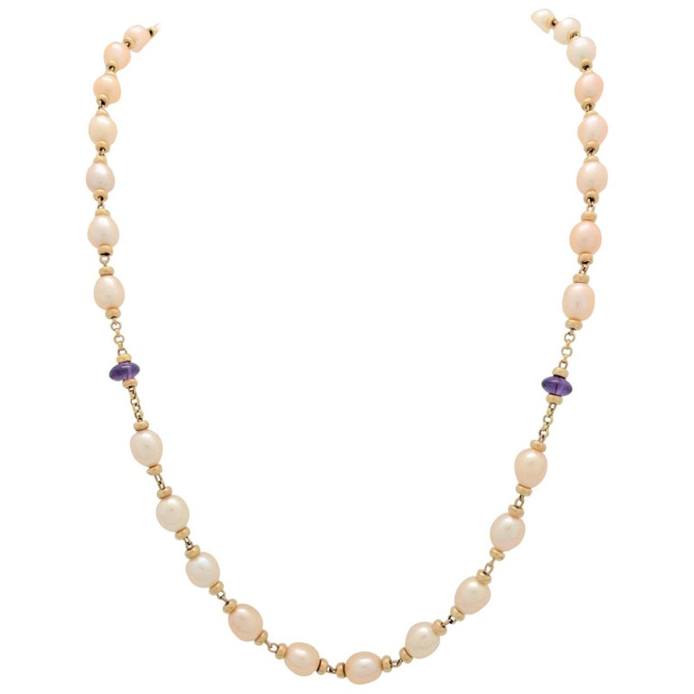 10 Karat Yellow Gold Beaded Cultured Pearl and Amethyst Necklace