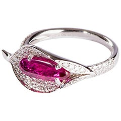 Ruby and Diamond Calla Lilly Ring