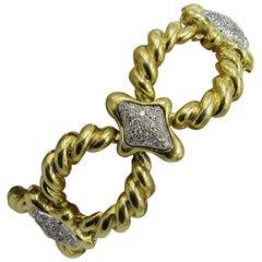 Gold and Diamond Link Bracelet