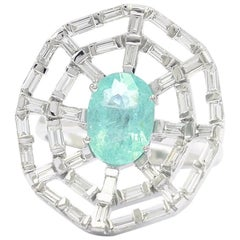 Web Paraiba and Baguette Diamond Ring