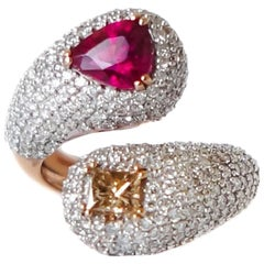 Intertwined Rubellite and Fancy Diamond Ring