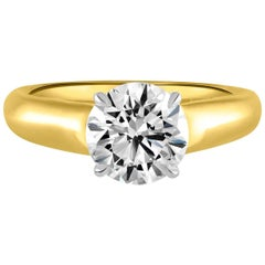 Handmade 18 Karat Gold, Platinum and 1.73 Carat GIA Certified Round Diamond Ring