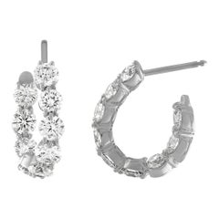 18 Karat White Gold and 4.15 Carat Diamond Curved Hoop Earrings