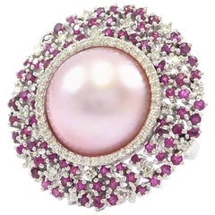 Starburst Pink Pearl Ruby and Diamond Ring