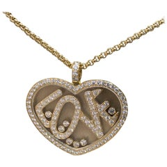 Chopard Happy Diamonds Love Heart Yellow Gold Full Diamond Pendant Necklace