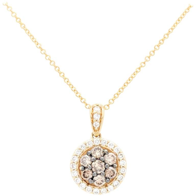 Le Vian Champagne Diamond Halo Pendant Necklace .50 Carat in 14 Karat Gold