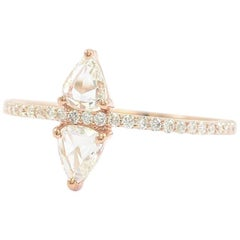 Double Trillion Rose Cut and Pave Diamond Ring