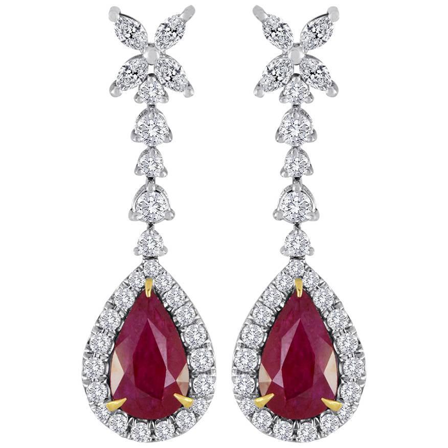 Ruby Pear Diamond Halo Gold Fashion Dangle Drop Earrings