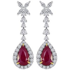 Ruby Diamond Halo Gold Dangle Drop Earrings