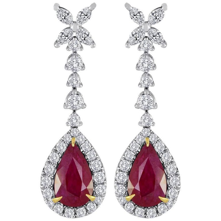 Ruby Diamond Halo Gold Dangle Drop Earrings For Sale
