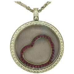 Chopard Happy Diamonds White Gold Diamond and Rubies Heart Pendant Necklace New