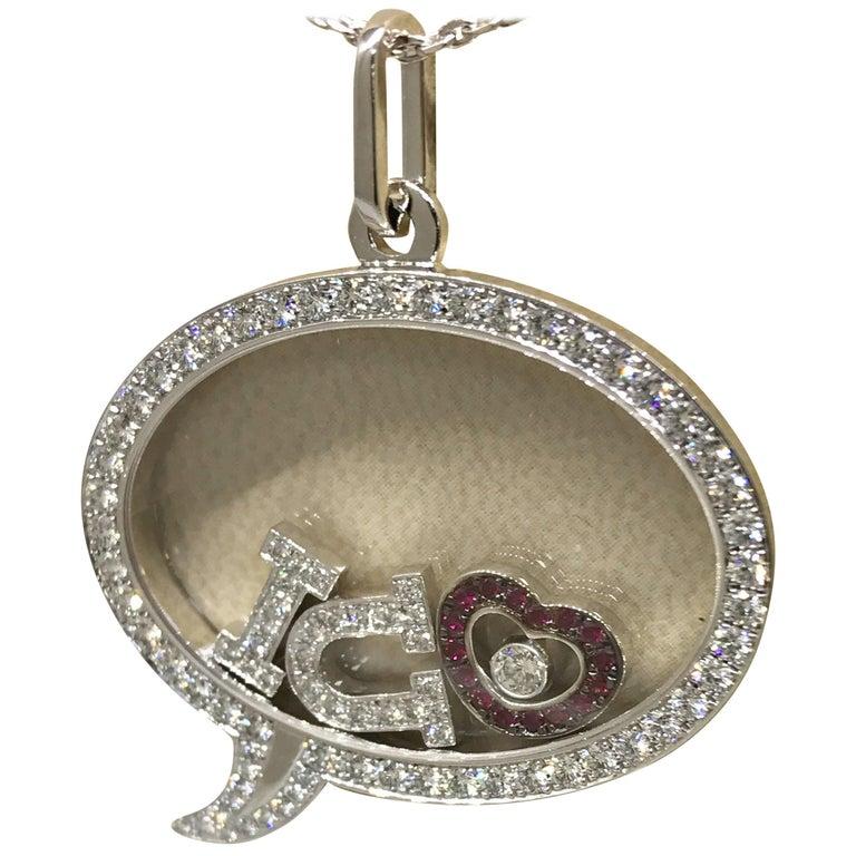 "Chopard Happy Diamonds White Gold Diamond and Rubies ""I Love U"" Pendant Necklace For Sale"