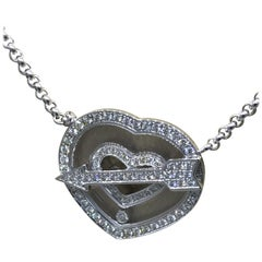 Chopard Happy Diamonds White Gold Full Diamond Heart Pendant Necklace Brand New
